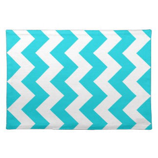Aqua Chevron Zigzag Cloth Placemat