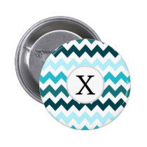 Aqua Chevron ZigZag Pattern Button