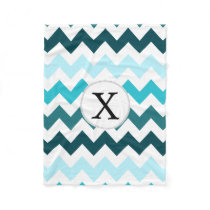 Aqua Chevron ZigZag Pattern Fleece Blanket