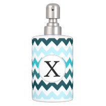 Aqua Chevron ZigZag Pattern Soap Dispenser & Toothbrush Holder