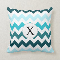 Aqua Chevron ZigZag Pattern Throw Pillow