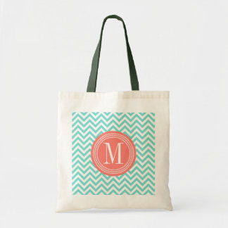 Aqua Chevron Zigzag Personalized Monogram Bags