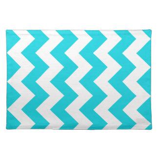 Aqua Chevron Zigzag Cloth Place Mat