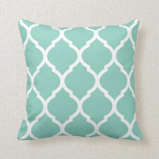 Aqua Chic Moroccan Lattice Pattern Pillows