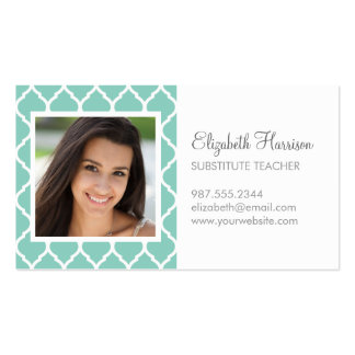 Aqua Chic Moroccan Lattice Photo Double-Sided Standard Business Cards (Pack Of 100)