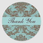 Aqua Chocolate Damask Thank You Sticker