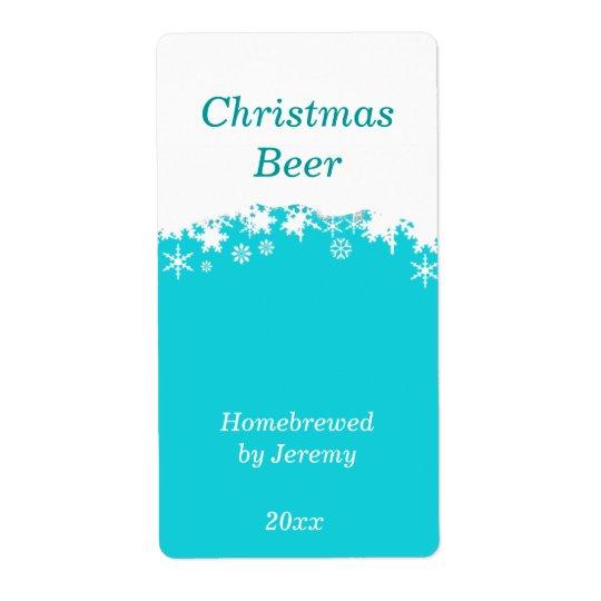 Aqua Christmas Beer Label