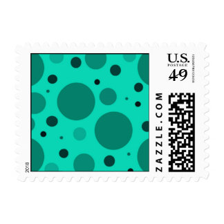 Aqua Circles and Dots Postage