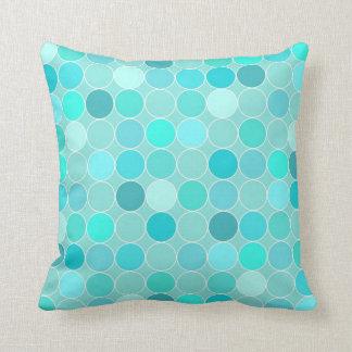 Aqua Circles Pattern Decorative Pillow