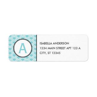 Aqua Clamshell Monogram Return Address Label