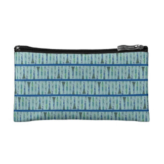 Aqua Clarinet Stripes Makeup Bag
