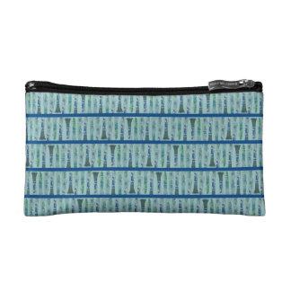Aqua Clarinet Stripes Makeup Bags