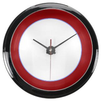 Aqua Clock Round Red Strip Add TEXT PHOTO TEMPLATE