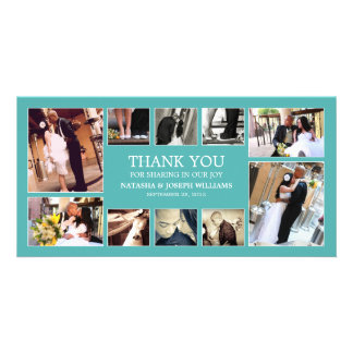 AQUA COLLAGE | WEDDING THANK YOU CARD PICTURE CARD