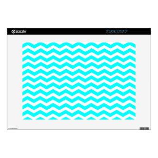 "Aqua-Color-And-White Chevron Skins For 15"" Laptops"