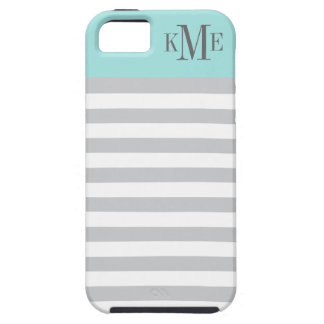 Aqua Color Block Monogram   Gray Stripes iPhone SE/5/5s Case