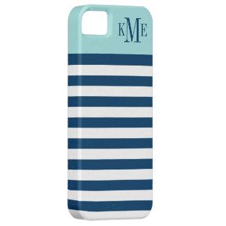Aqua Color Block Monogram   Navy Stripes iPhone SE/5/5s Case