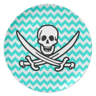Aqua Color Chevron; Jolly Roger Flag Party Plates
