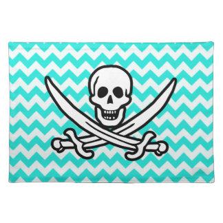 Aqua Color Chevron; Jolly Roger Flag Place Mat