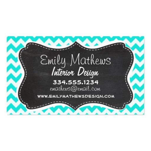 Aqua Color Chevron; Vintage Chalkboard look Business Card