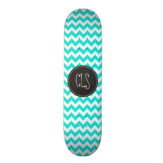Aqua Color Chevron; Vintage Chalkboard look Skateboard Deck
