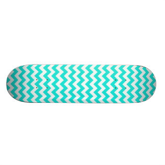 Aqua Color Chevron; zig zag Skate Board Deck