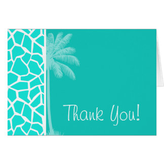 Aqua Color Giraffe Animal Print Summer Palm Card