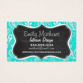 Aqua Color Paisley; Floral; Retro Chalkboard Business Card