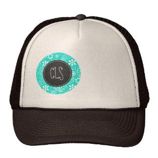 Aqua Color Paisley; Floral; Retro Chalkboard Trucker Hat
