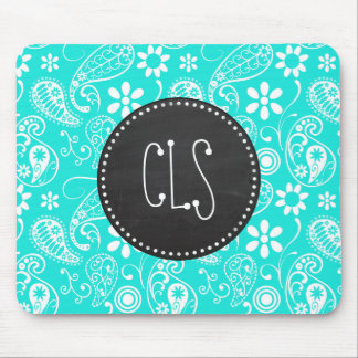 Aqua Color Paisley; Floral; Retro Chalkboard Mouse Pad