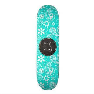 Aqua Color Paisley; Floral; Retro Chalkboard Skate Board