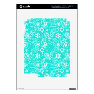 Aqua Color Paisley Floral iPad 3 Decal