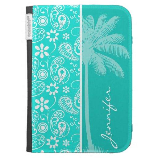 Aqua Color Paisley; Floral; Summer Palm Kindle Case