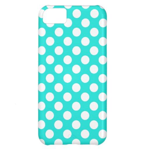 Aqua Color Polka Dots Case For iPhone 5C