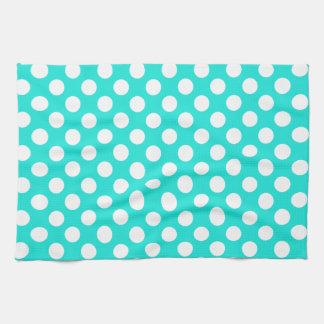 Aqua Color Polka Dots Hand Towel