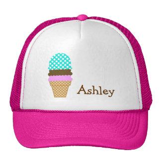 Aqua Color Polka Dots; Ice Cream Cone Hat