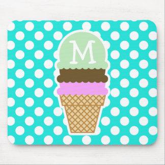 Aqua Color Polka Dots; Ice Cream Cone Mouse Pad