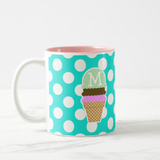 Aqua Color Polka Dots; Ice Cream Cone Two-Tone Coffee Mug