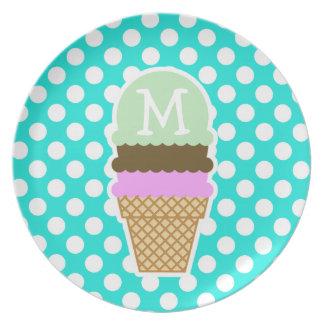 Aqua Color Polka Dots; Ice Cream Cone Dinner Plate