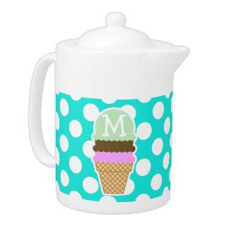 Aqua Color Polka Dots; Ice Cream Cone Teapot