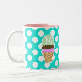 Aqua Color Polka Dots; Ice Cream Cone Two-Tone Coffee Mug