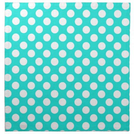 Aqua Color Polka Dots Printed Napkins