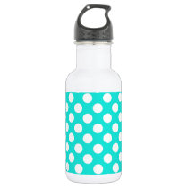 Aqua Color Polka Dots Water Bottle