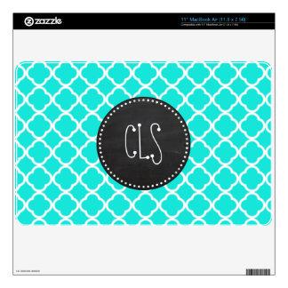 "Aqua Color Quatrefoil; Vintage Chalkboard look 11"" MacBook Air Skins"