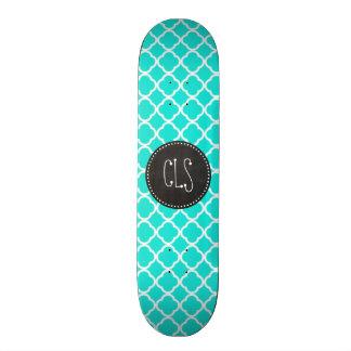 Aqua Color Quatrefoil; Vintage Chalkboard look Skateboard
