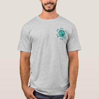 Aqua colored Stars Design T-Shirt