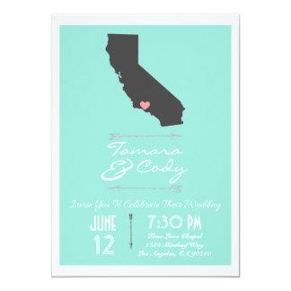 Aqua Colored Ventura California Wedding Invitation