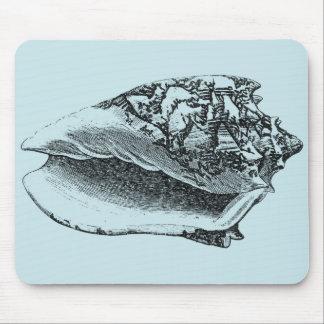 Aqua Conch Shell Mouse Pad