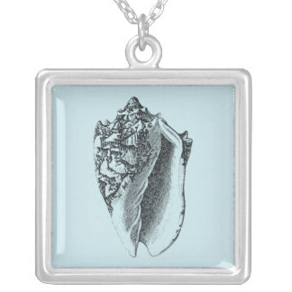 Aqua Conch Shell Silver Plated Necklace