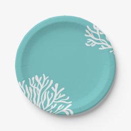 Aqua Coral Beach Paper Plate